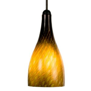 Checkolite 25309-36 1-Light Home Design Art Glass Pendant, Dark Bronze