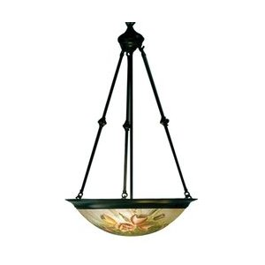 Dale Tiffany 10059/3LTL Flat Rose Handale Pendant Light, Antique Bronze and Handpainted Shade