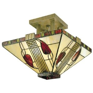 Dale Tiffany 2726/2LTF Henderson Flush Mount Light, Antique Bronze and Art Glass Shade