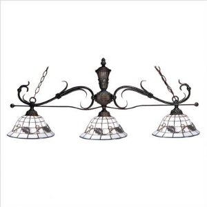 Dale Tiffany 6054/3LBV Iron 3-Island Light, Antique Bronze and Art Glass Shade