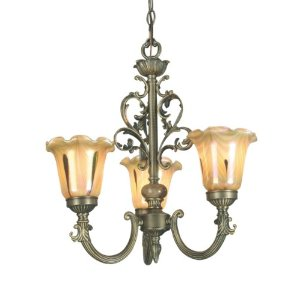 Dale Tiffany TH70239 Columbus Tulip Light Fixture, Antique Brass and Glass Shade