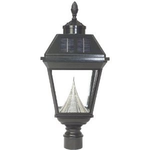Gamasonic GS-97FG Black Imperial Solar Lantern with Super Bright White LED's and a 3-Inch Pole Mount with Acorn Finial
