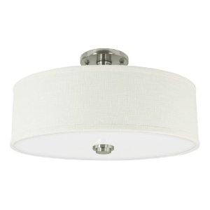 Good Earth Lighting H4219-BN-LIN-I Valencia 19-Inch Semi-Flush No Trim With Linen Shade, Brush Nickel