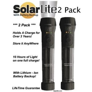 HYBRID SOLAR POWERED FLASHLIGHT WITH EMERGENCY BATTERY BACKUP