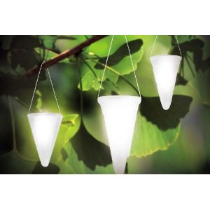 Hanging Solar Garden Light - Cornet Shaped Solar Lights, Solar Tree Lighting - Set of Three (3) Lights