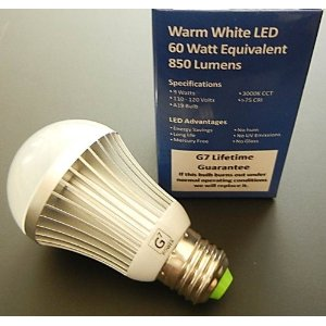 LED Light Bulb 850 Lumen True 60 Watt Incandescent Replacement Lifetime Guarantee Standard A19 Shape E26 Base Warm White 9 Watt 180 Degree Illumination No Mercury by G7 Power
