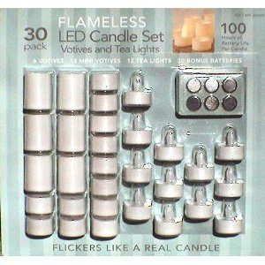 LED Votives and Tea Light Kit 30 Pack with Extra Batteries