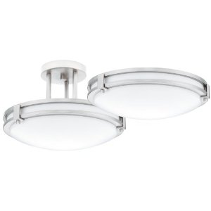 Lithonia Lighting 11750 BN M4 Saturn One-Light Fluorescent Semi Flush-Mount Ceiling Fixture, Brushed Nickel with White Acrylic Globe