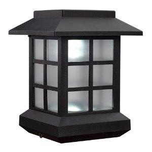 McFarland Cascade Terratec Solar Cottage Post Cap, Black, Fits 4x4-Inch Post