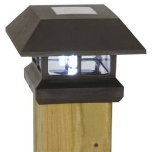 Moonrays 91249 Solar Powered Plastic Post Cap Lamp Light, Black