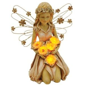 Moonrays 91332 Solar Power Highlighted Fairy with Sunflowers