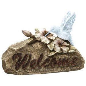 Moonrays 91362 Solar Power Highlighted Hummingbird Welcome Sign Garden Accent