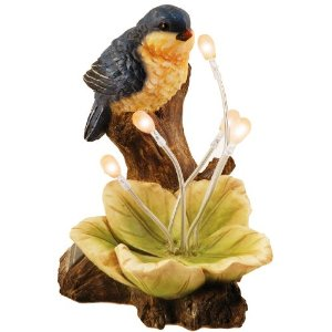 Moonrays 91508 Solar Powered Blue Bird with Glowing Flower Garden Fixture