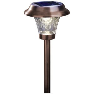 Moonrays 91762 Alexa Style Solar Light, Metal Path Light, LED is 6X-Brighter, Bronze, 4-Pack