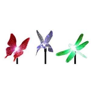 Novelty Outdoor Garden Solar Lights: Hummingbird, Butterfly & Dragonfly Garden Stake Lights