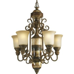 Progress Lighting P4395-111 Five-Light Petite Chandelier with Antique Stone Glass and Ceramic Elements, Desert Sand