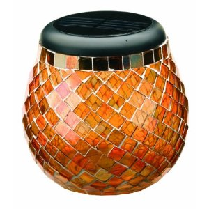 Smart Solar 3772WRM1 Glass Mosaic Solar T-Light. Amber