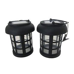 Smart Solar 3782WRM2 Black Umbrella Hanging Solar Lantern, 2-Pack