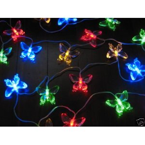 Solar Powered Butterfly String Lights 20 LED Light String Butterfly