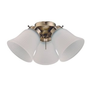 Westinghouse Lighting 7781500 Three-Light Cluster 3-Inch Fitter Ceiling Fan Light Kit, Antique Brass Finish with Frosted Ribbed-Glass Shades
